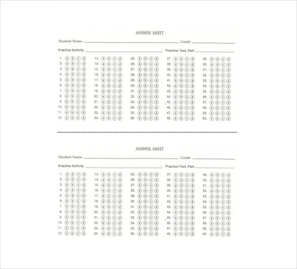 11+ Printable Answer Sheet Templates, Samples  Examples Free