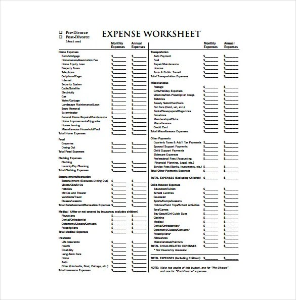 Expense Sheet Template - 9+ Free Word, Excel, PDF Documents Download