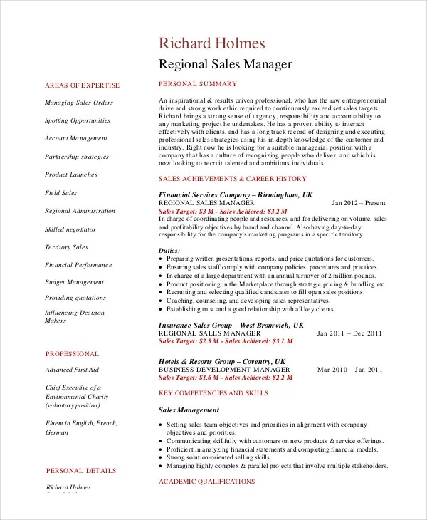Sales Manager Resume Template - 7+ Free Word, PDF Documents Download