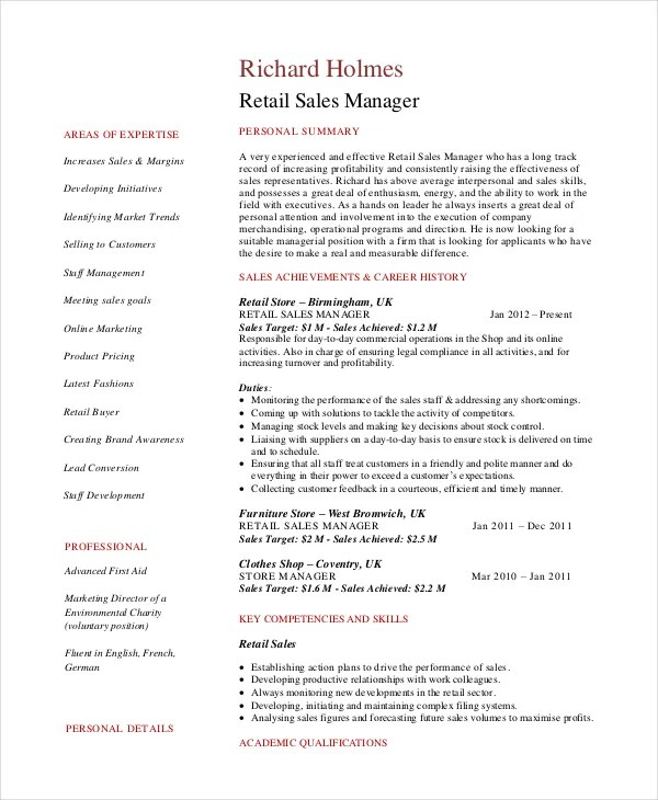 Sales Manager Resume Template - 7+ Free Word, PDF Documents Download - resume for retail sales