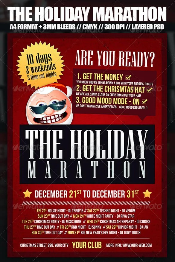 Holiday Flyer Template \u2013 21+ Free JPG, PSD, Format Download Free