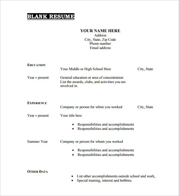 free fill in resume template - Ozilalmanoof - free printable fill in the blank resume templates