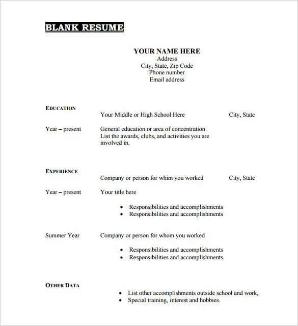 free fill in the blank resume samples