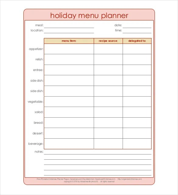 Holiday Menu Template \u2013 25+ Free PDF, EPS, PSD, Format Download - menu planner templates