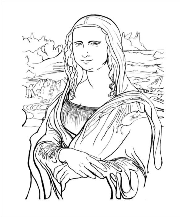 Mona Lisa Clipart Coloring Page - Free Clipart On Dumielauxepicesnet ...