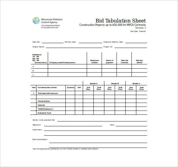 Bid Sheet Template - 10+ Free Word, PDF, Documents Download Free - Bid Sheet Template Free