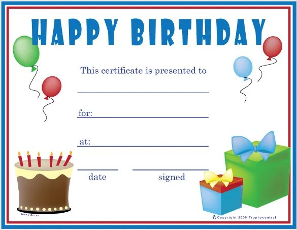Birthday Certificate Template u2013 20+ Free PSD, EPS,In Design Format - certificate template for kids