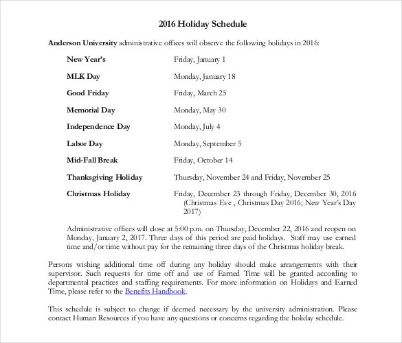 Holiday Schedule Template \u2013 15+ Free PDF Documents Download Free