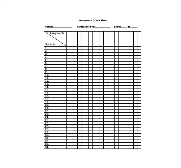 grade sheet template - Minimfagency - Teacher Grade Book Printable