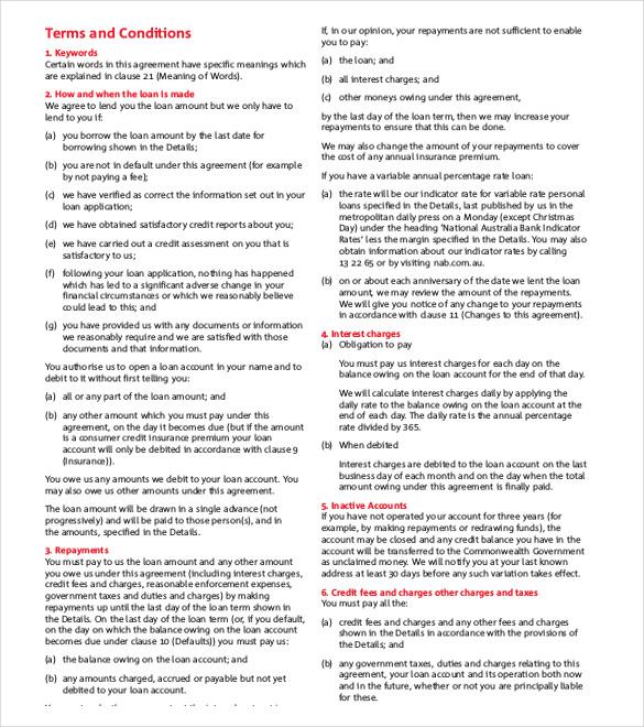 Loan Agreement Template \u2013 11+ Free Word, PDF Documents Download