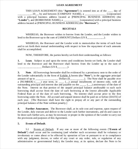 Loan Agreement Template \u2013 11+ Free Word, PDF Documents Download