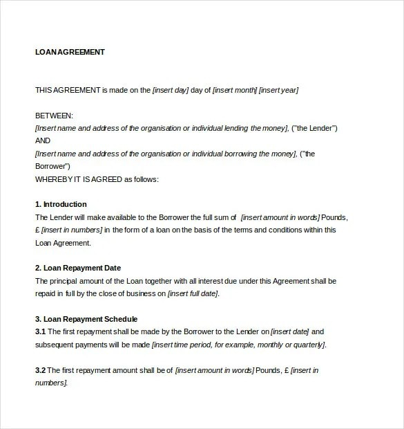 Loan Agreement Template u2013 11+ Free Word, PDF Documents Download - loan templates