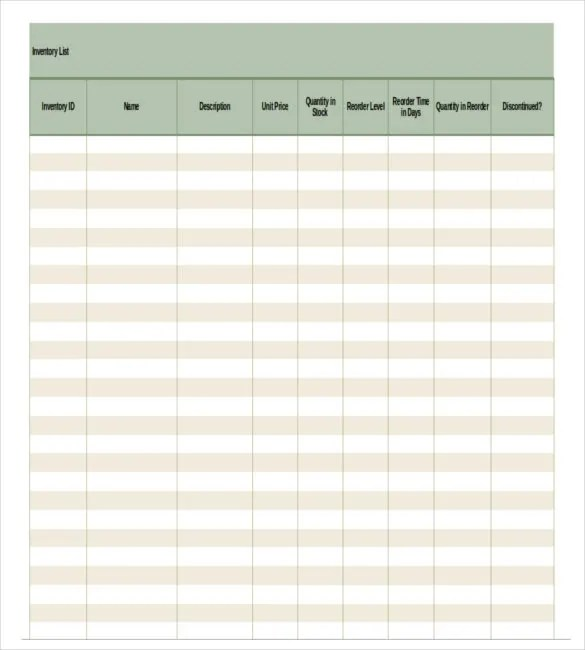 Free Inventory Template \u2013 16+ Free Excel, Word Documents Download - free inventory sheets to print