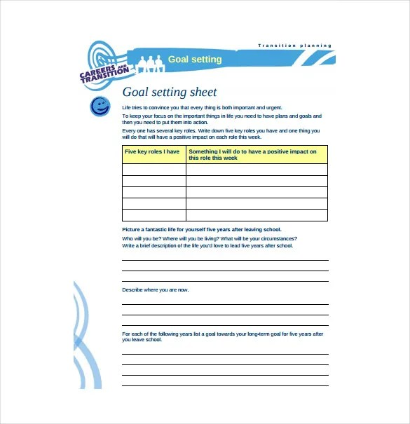 Goal Sheet Templates - 12 Free PDF Documents Download Free - personal goal template