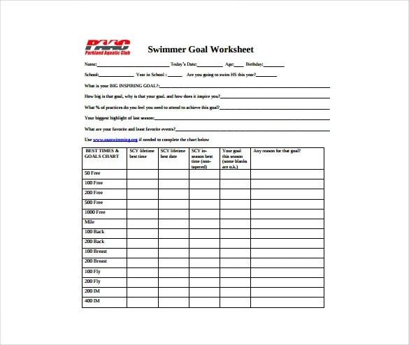 Goal Sheet Templates - 12 Free PDF Documents Download Free