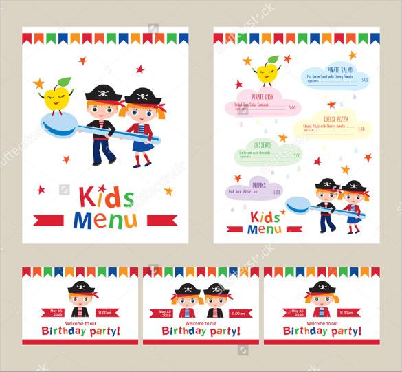 free kids menu template