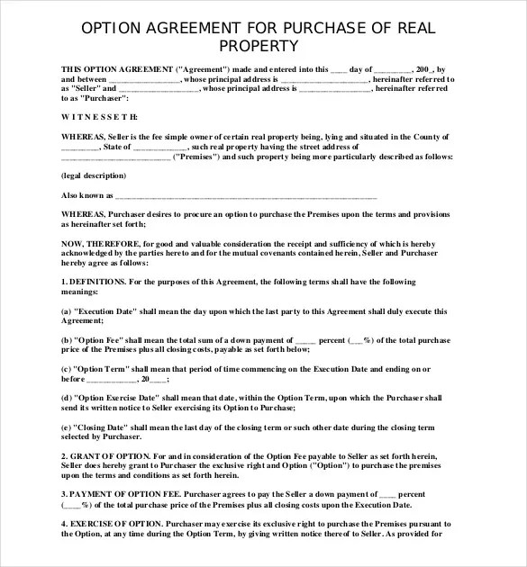 Purchase Agreement Template \u2013 17+ Free Word, PDF Document Download