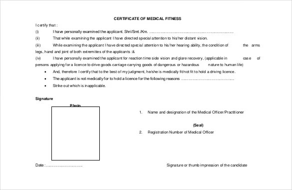 sample medical certificates - Selol-ink