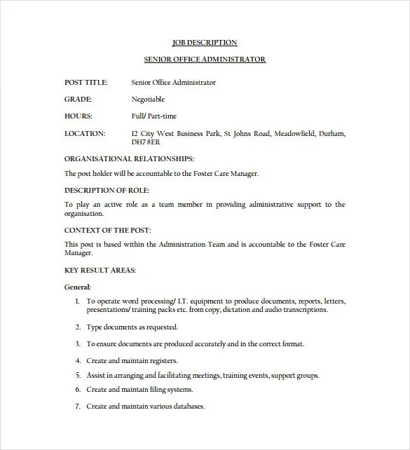 Office Administrator Job Description Templates - 10+ Free Sample - administrator job description