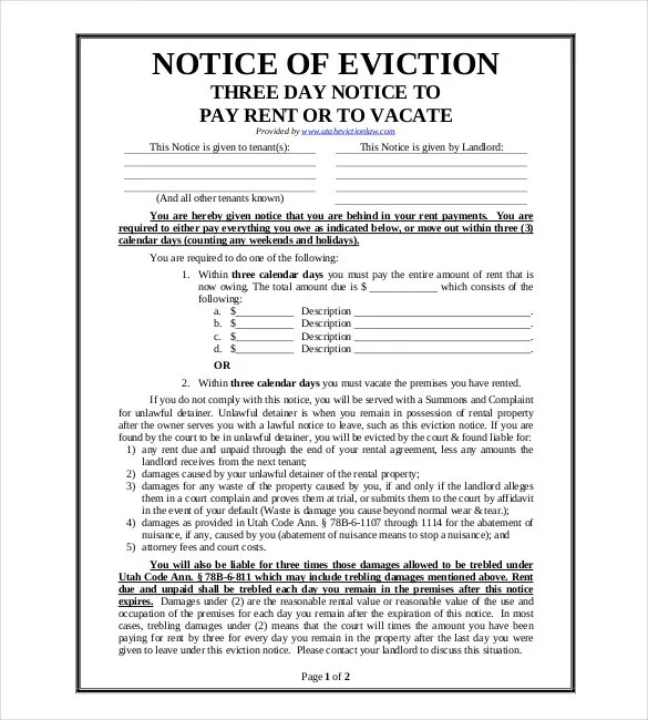 37+ Eviction Notice Templates - DOC, PDF Free  Premium Templates