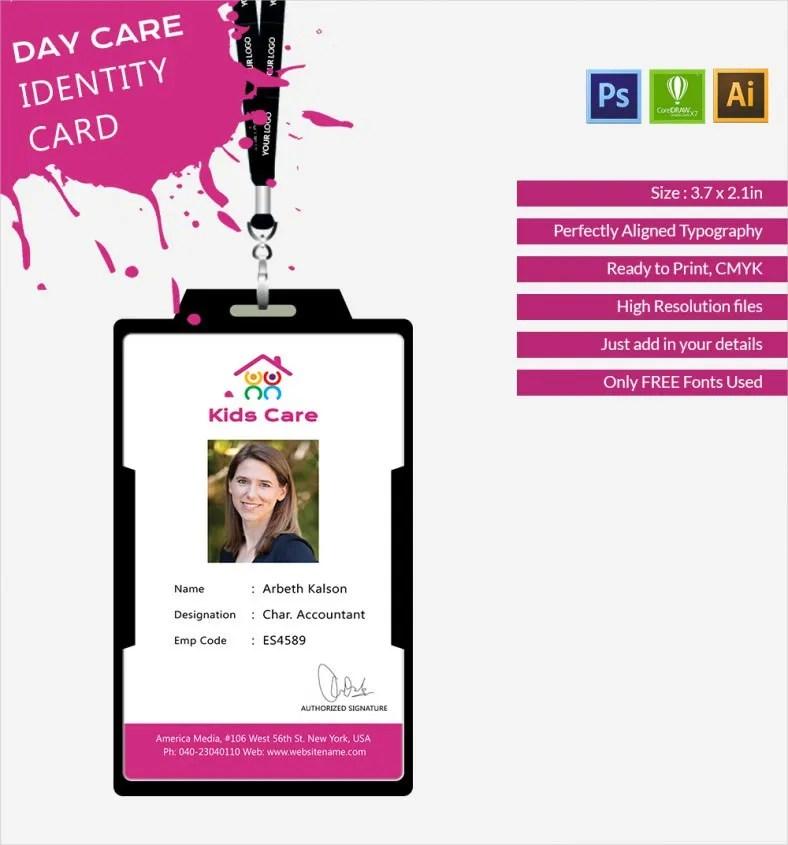 Fabulous Day Care Identity Card Template Free \ Premium Templates - id card template