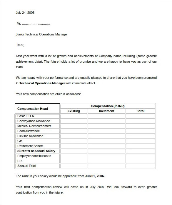 Salary Increment Appraisal Letter Format Letter Format 2017 - how to write salary increment letter