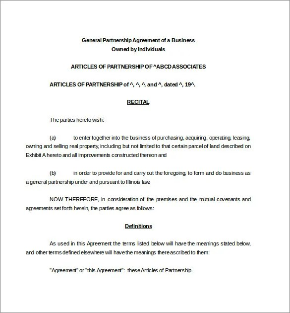 Partnership Agreement Template -11+ Free Word, PDF Document Download - Free Partnership Agreement Form