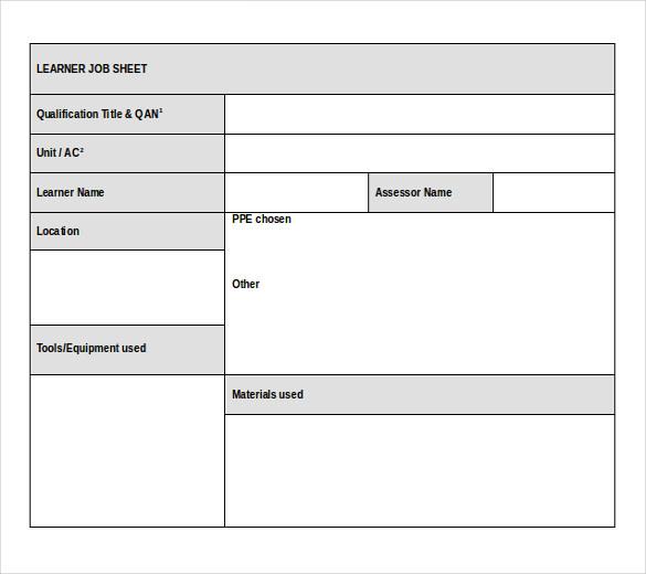 Excel In Job – Job Sheet Format Excel