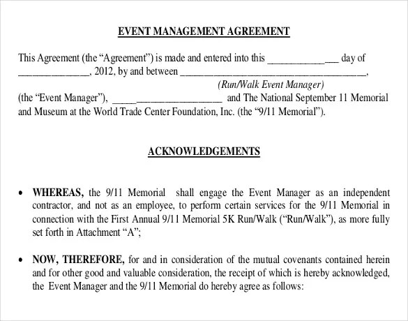 Event Contract Template - 16+ Free Word, Excel, PDF Documents - event planner contract example