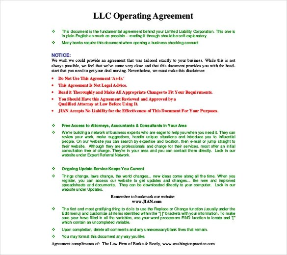 Operating Agreement Template -11+ Free Word, PDF Document Download
