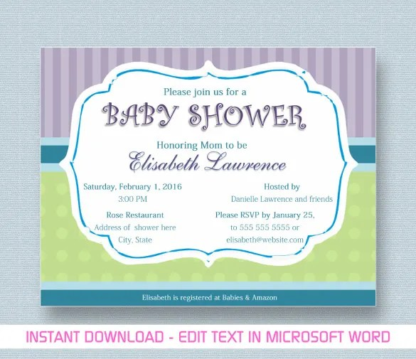 10+ Baby Shower Invitation Templates Free Printable Word  PDF Formats - baby shower template word