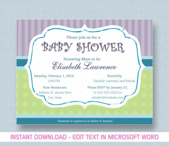 microsoft baby shower invitation templates free