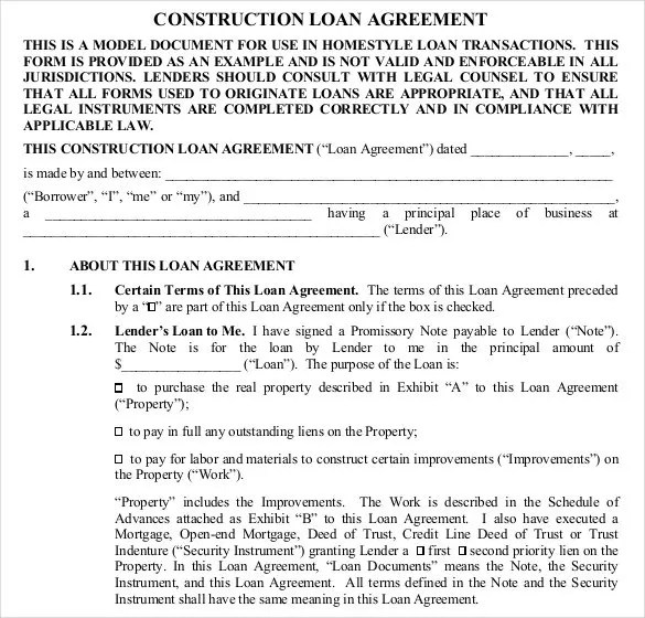 Sample Loan Contract Templates Construction Loan Contract - loan templates