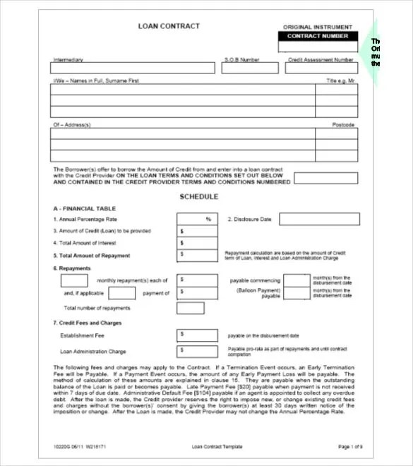 Loan Contract Template \u2013 27+ Examples in Word, PDF Free  Premium - Loan Repayment Contract Free Template