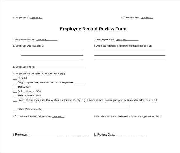 Employee Record Templates -32+ Free Word, PDF Documents Download - employee record form