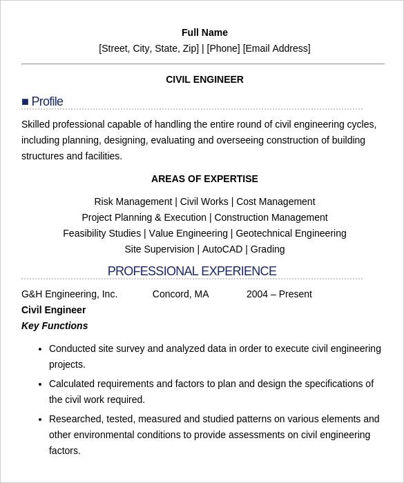 civil engineering fresher resume template