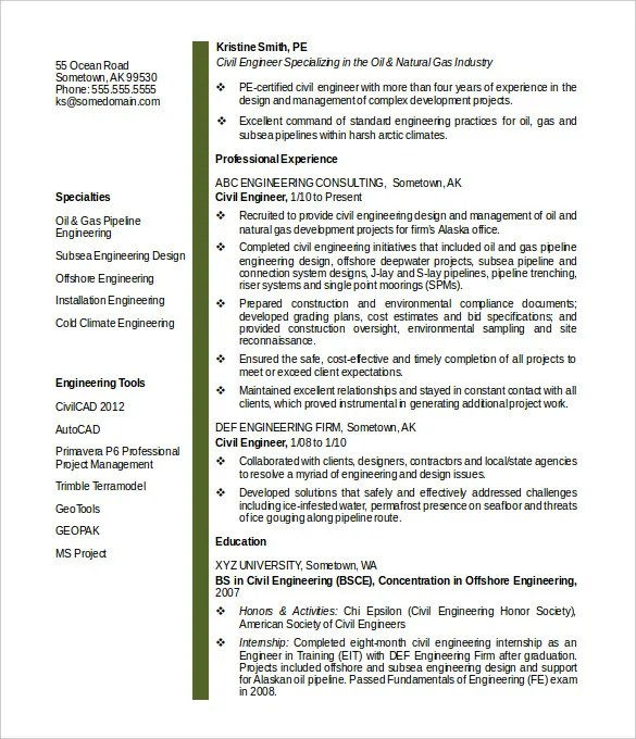 16+ Civil Engineer Resume Templates - PDF, DOC Free  Premium - Engineering Resume Templates Word