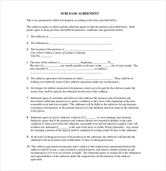 sublease agreement template datariouruguay