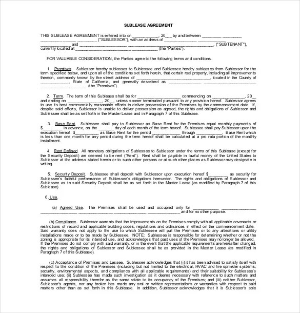 Sublease Agreement Template \u2013 15+ Free Word, PDF Document Download