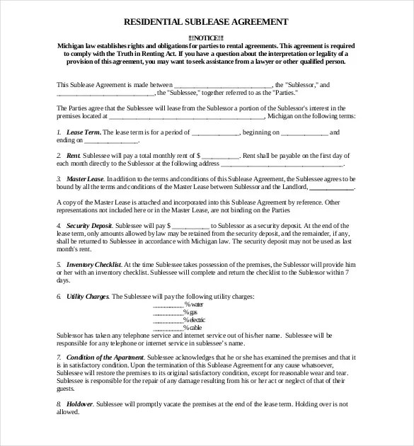 Sublease Agreement Template u2013 9+ Free Word, PDF Document Download - sublease agreement