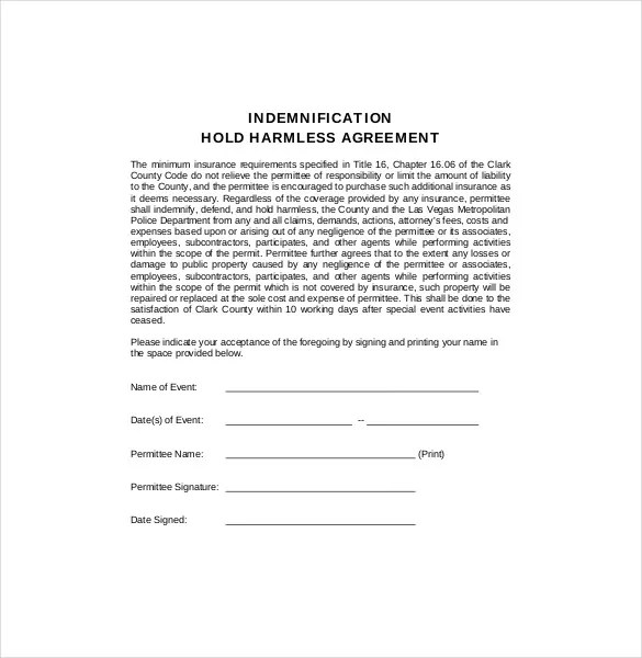 Hold Harmless Agreement Template u2013 13+ Free Word, PDF Document - indemnity form template