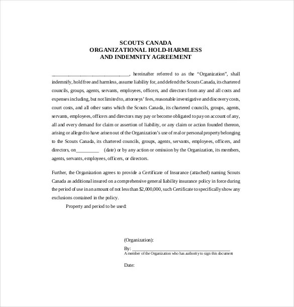 Hold Harmless Agreement Template \u2013 13+ Free Word, PDF Document