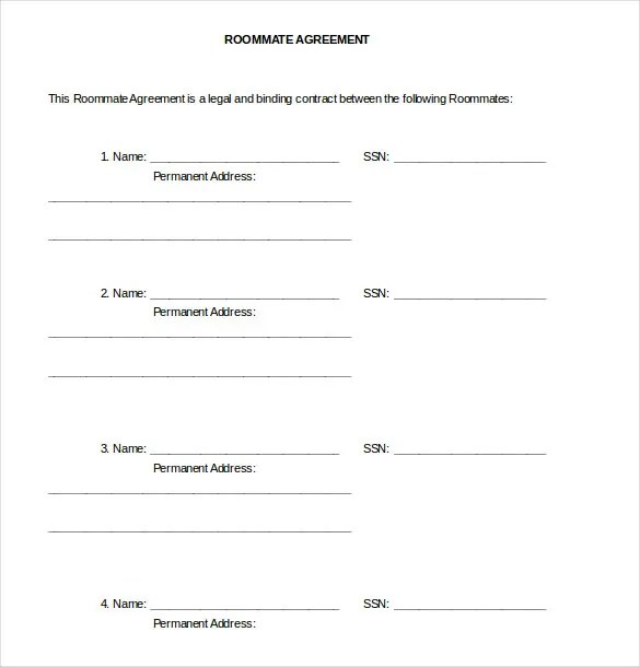 Roommate Agreement Template u2013 10+ Free Word, PDF Document Download - roommate rental agreement