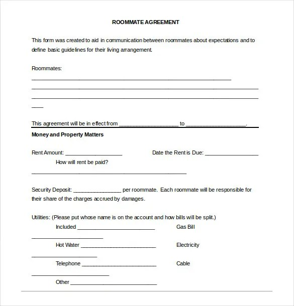 Roommate Agreement Template \u2013 12+ Free Word, PDF Document Download