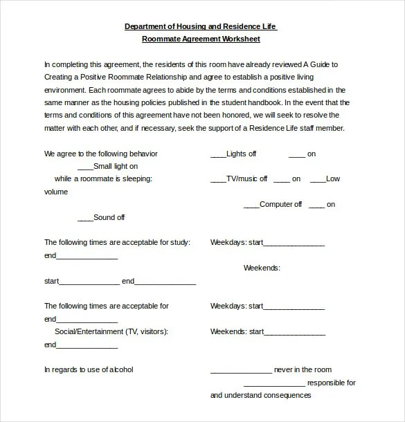 Roommate Agreement Template \u2013 11+ Free Word, PDF Document Download - roommate agreement