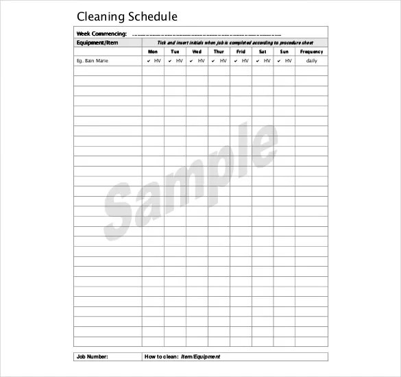 Kitchen Cleaning Schedule Template - 20 Free Word, PDF Documents