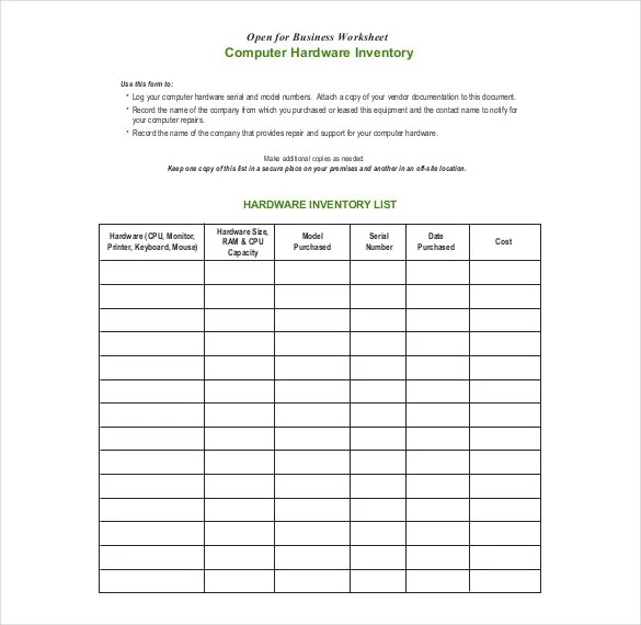 Inventory Form Template \u2013 13+ Free Excel, Word, PDF Documents