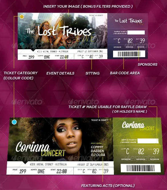 Ticket Templates \u2013 99+ Free Word, Excel, PDF, PSD, EPS Formats - event ticket template free download