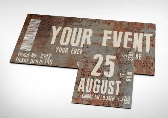 Ticket Templates \u2013 99+ Free Word, Excel, PDF, PSD, EPS Formats - printable event tickets