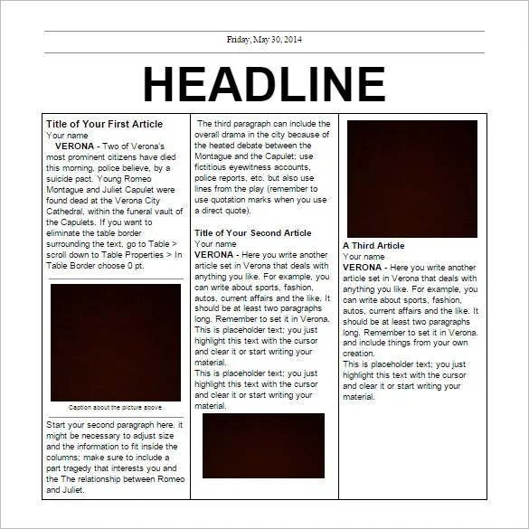 free fake newspaper template - Leonescapers - fake document templates